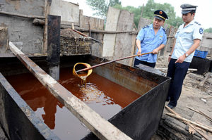 Police inspect illegal cooking oil, bett